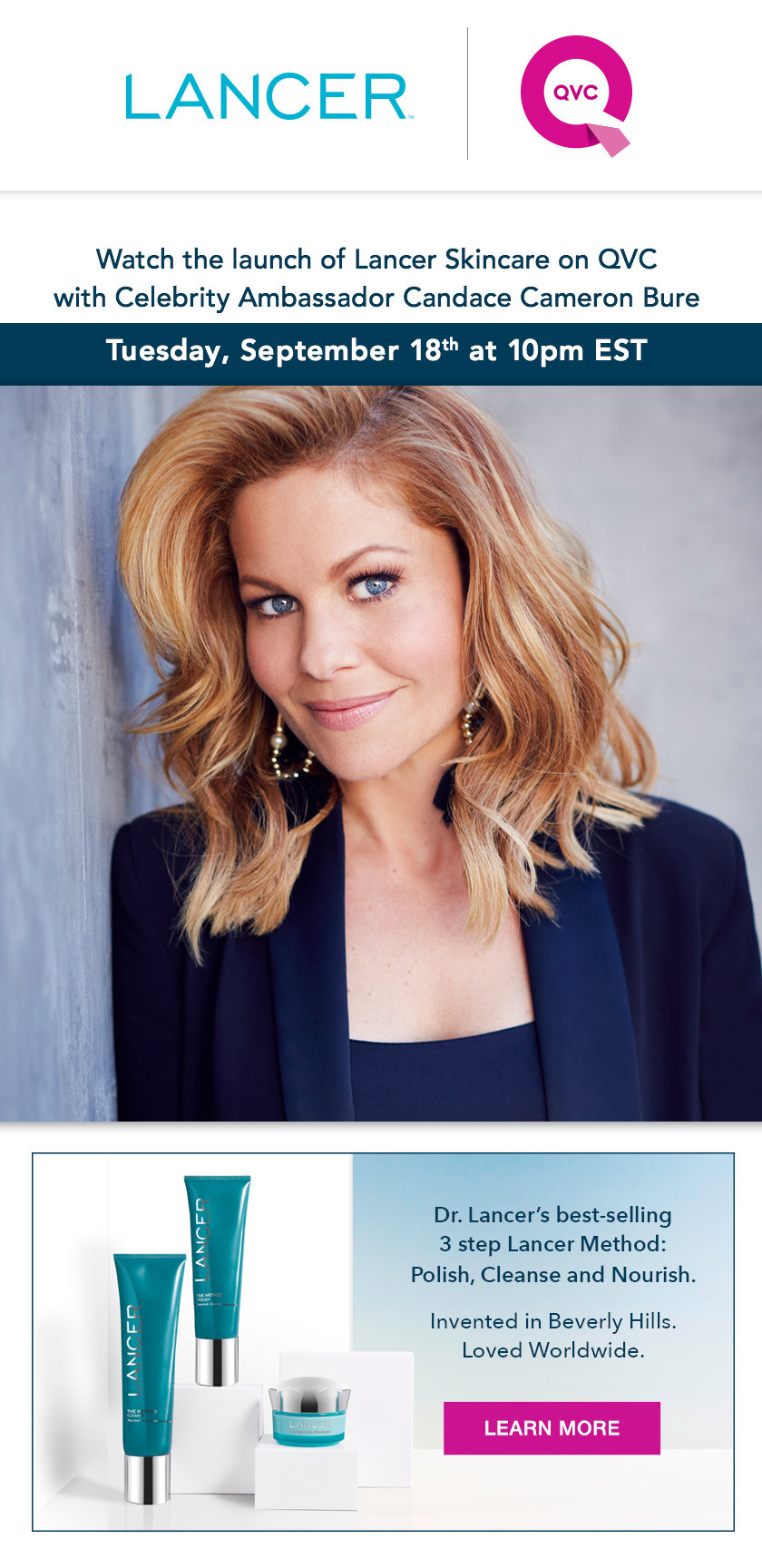 Lancer Skincare Watch Our Qvc Launch 9 18 With Candace Cameron Bure