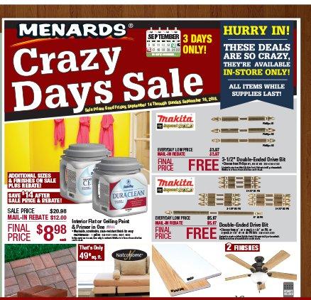 menards in store only crazy 3 day sale milled. Black Bedroom Furniture Sets. Home Design Ideas