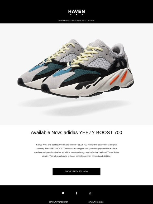 best sneakers 4e14f 3018d Haven  Available Now  adidas YEEZY BOOST 700   Milled