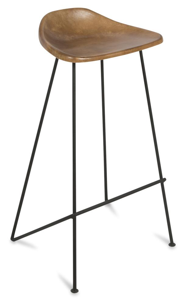 Image of ARCHIE TAN LEATHER STOOL