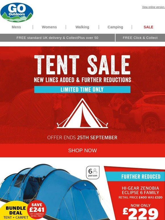 da82dbb59fc Go Outdoors  ⛺ Tent Sale  New lines added   further reductions… Limited  time only!