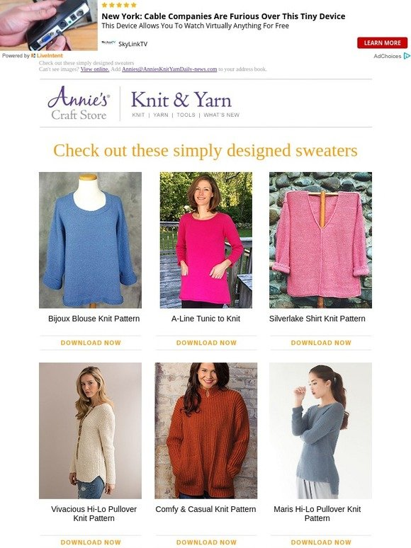 6dbdfe6384de75 Annie s  Check out these simply designed sweaters