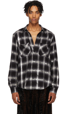Amiri - Black & Grey Glitter Plaid Shirt