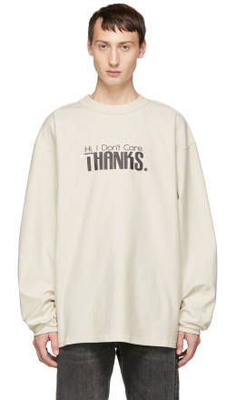 Vetements - White 'Hi I Don't Care' Inside Out Sweatshirt