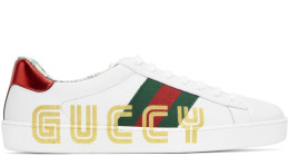 Gucci - White New Ace 'Guccy' Sneakers