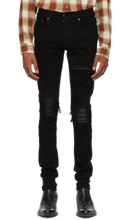 Amiri - Black Leather Patch MX-1 Jeans
