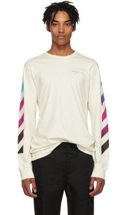 Off-White - White Gradient Diagonal Long Sleeve T-Shirt