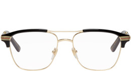 Gucci - Gold & Black Square Glasses