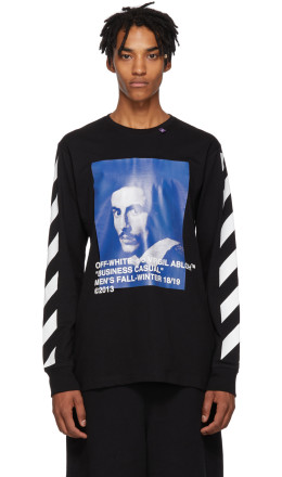 Off-White - Black Diagonal Bernini Long Sleeve T-Shirt