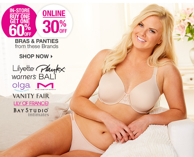 Shop 30% Off Select Bras & Panties | BOGO 60% Off In-Store