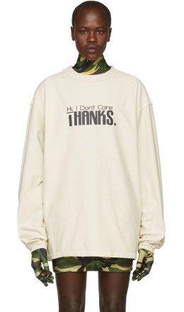 Vetements - White 'Hi I Don't Care' Inside Out Sweatshirt