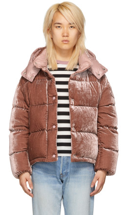 Moncler - Pink Velvet Down Caille Jacket