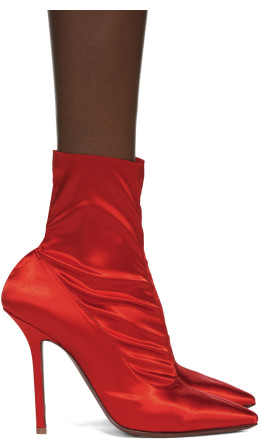 Vetements - Red Satin Ankle Boots