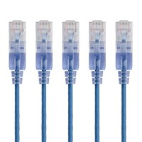 Monoprice SlimRun Cat6A Ethernet Patch Cable - Snagless RJ45, Stranded, 550Mhz, UTP, Pure Bare Copper Wire, 10G, 30AWG, 7ft, Blue, 5-Pack