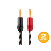 Affinity Premium 14AWG Braided Speaker Wire with Gold Plated Banana Plug Connectors, 10ft 2-Pack