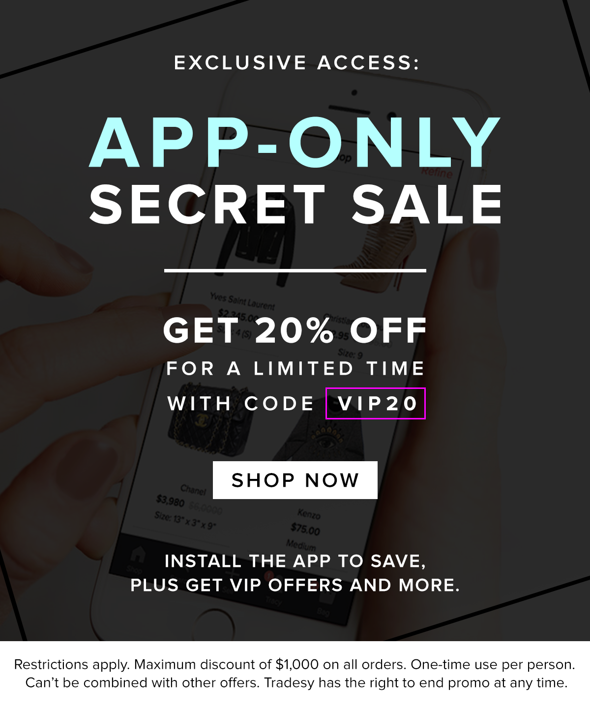 44c5a99c7 Tradesy: Exclusive App-Only Secret Sale   Milled
