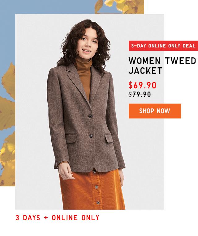 WOMEN TWEED JACKET $69.90 - SHOP NOW