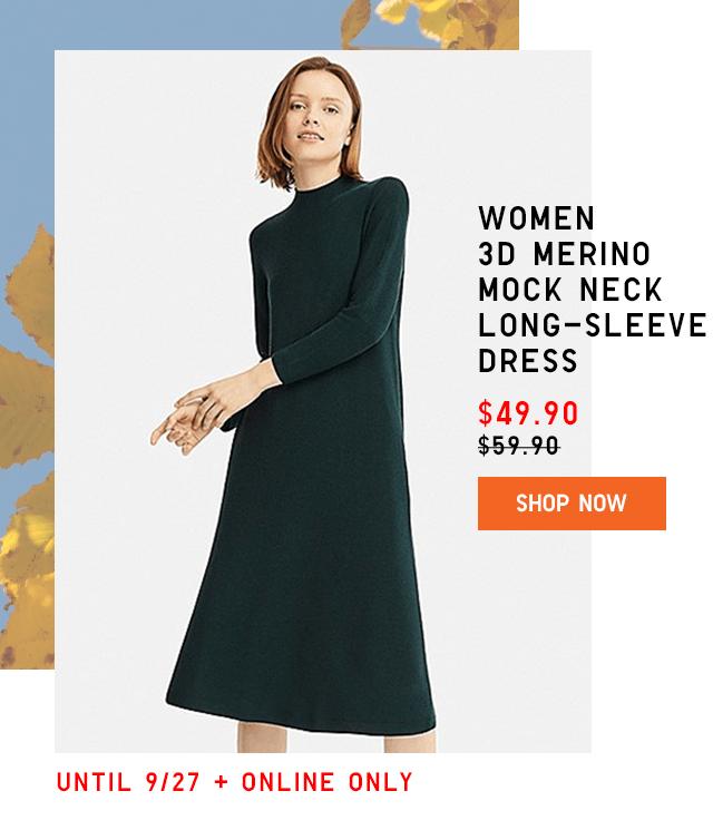 WOMEN 3D MERINO MOCK NECK LONG-SLEEVE DRESS $49.90 - SHOP NOW