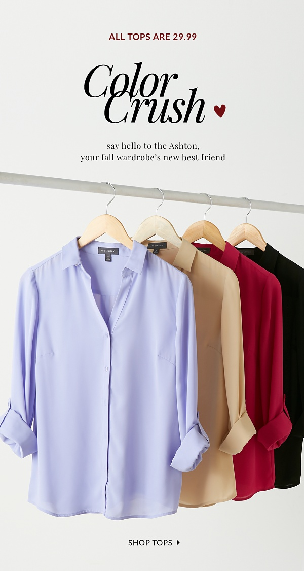 All Tops are 29.99 - Color Crush - Say hello to the Ashton, your fall wardrobe's new best friend. - Shop Tops