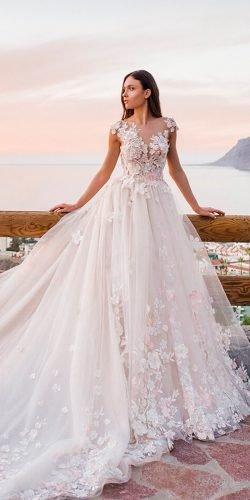 c23132b5bed5 oksana mukha wedding dresses 2019 ball gown lace floral applique cap sleeves  blush heiden