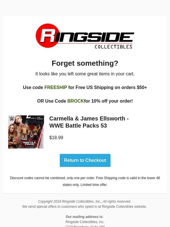 Ringside Collectibles: We saved your cart for you | Milled