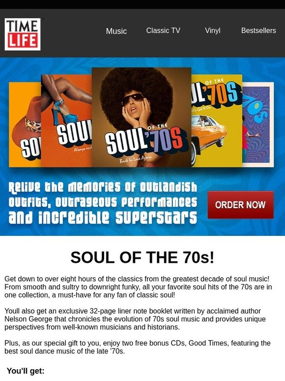 TimeLife com: Soul of the '70s is back in stock! Get it before it's