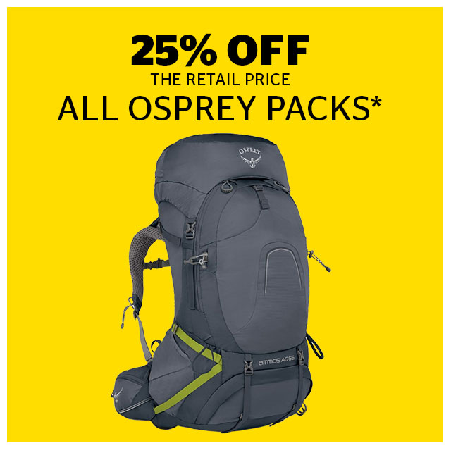 25% Off All Osprey Packs