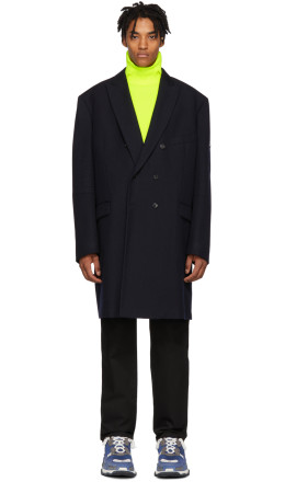 Balenciaga - Navy Double-Breasted Coat