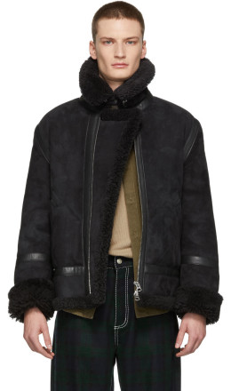 Acne Studios - Black Shearling Ian Aviator Jacket