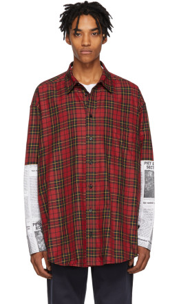 Balenciaga - Red Newspaper Patch Shirt