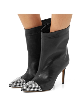 21582c60daef32 Ericdress Rhinestone Pointed Toe Stiletto Heel Ankle Boots