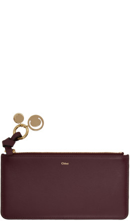 Chlo - Burgundy Flat Alphabet Zipped Wallet