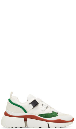 Chlo - White & Green Sonnie Sneakers