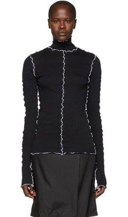 Ann Demeulemeester - Black & White Cotton Turtleneck