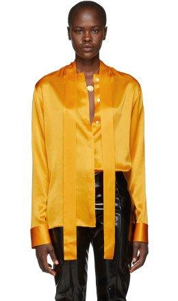 Haider Ackermann - Orange Silk Dali Shirt