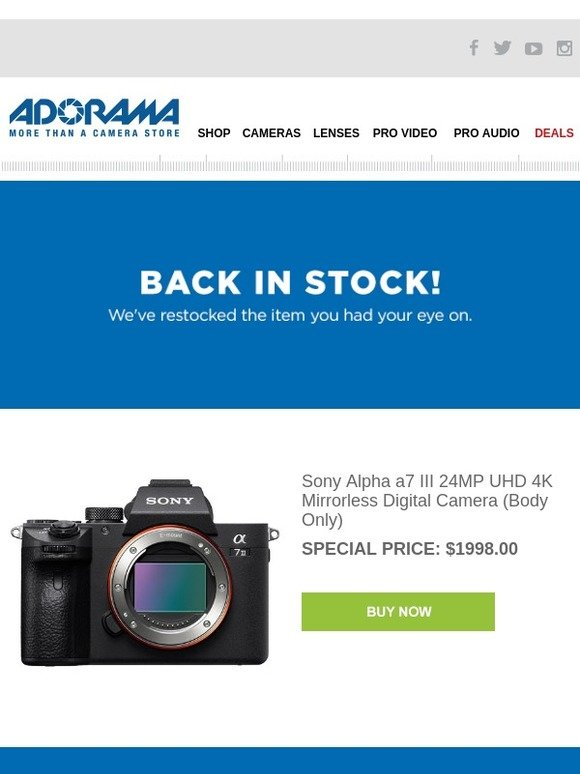 Adorama: Back in Stock: Sony Alpha a7 III 24MP UHD 4K