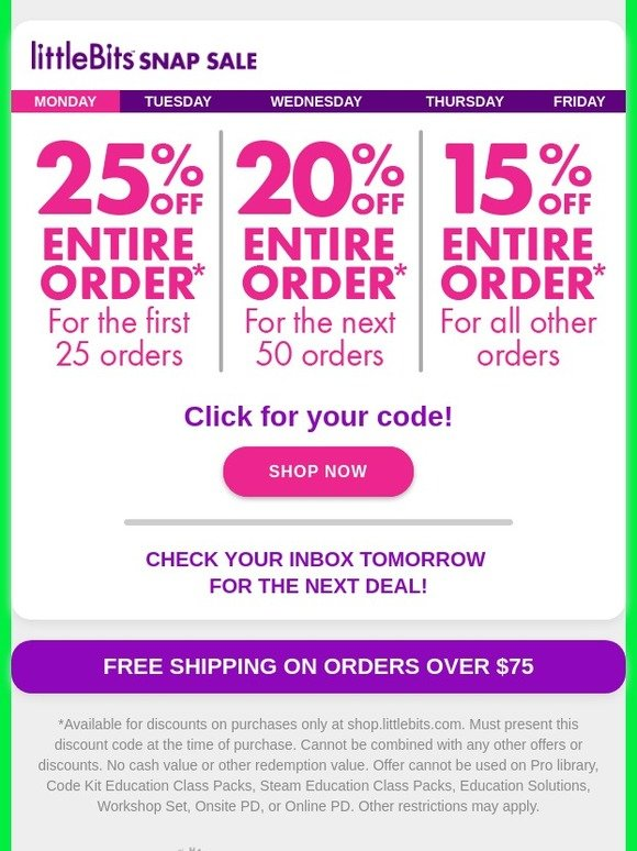 littleBits: Snap Sale Is On: Get 25% Off Your Order | Milled
