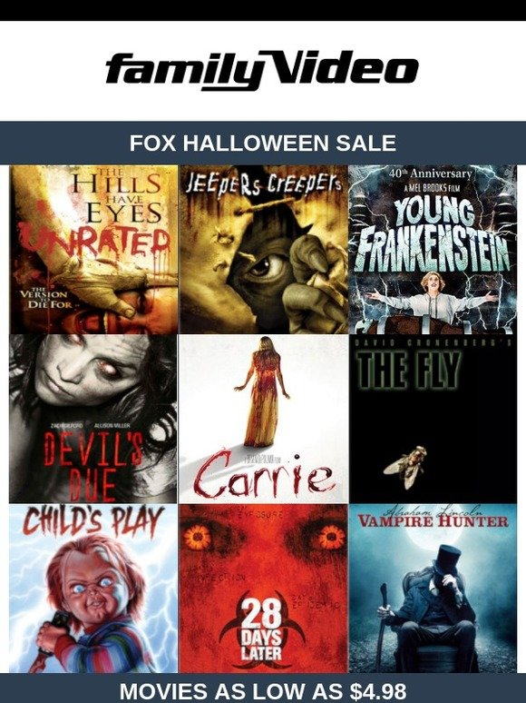 Family Video: 🎃 $4 98 & UP -> FOX Halloween Sale: Jeepers Creepers