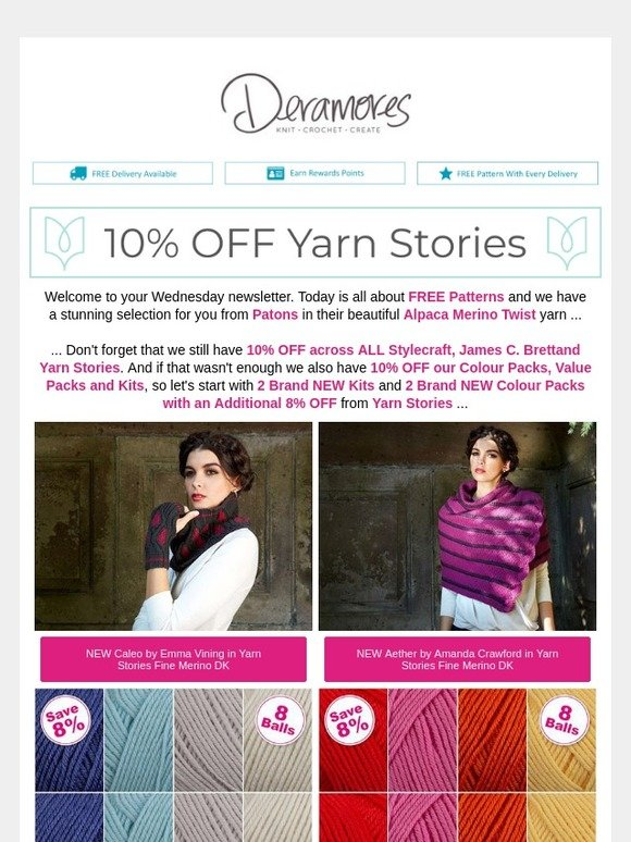 Deramores Free Patterns From Patons Brand New Kits And Colour