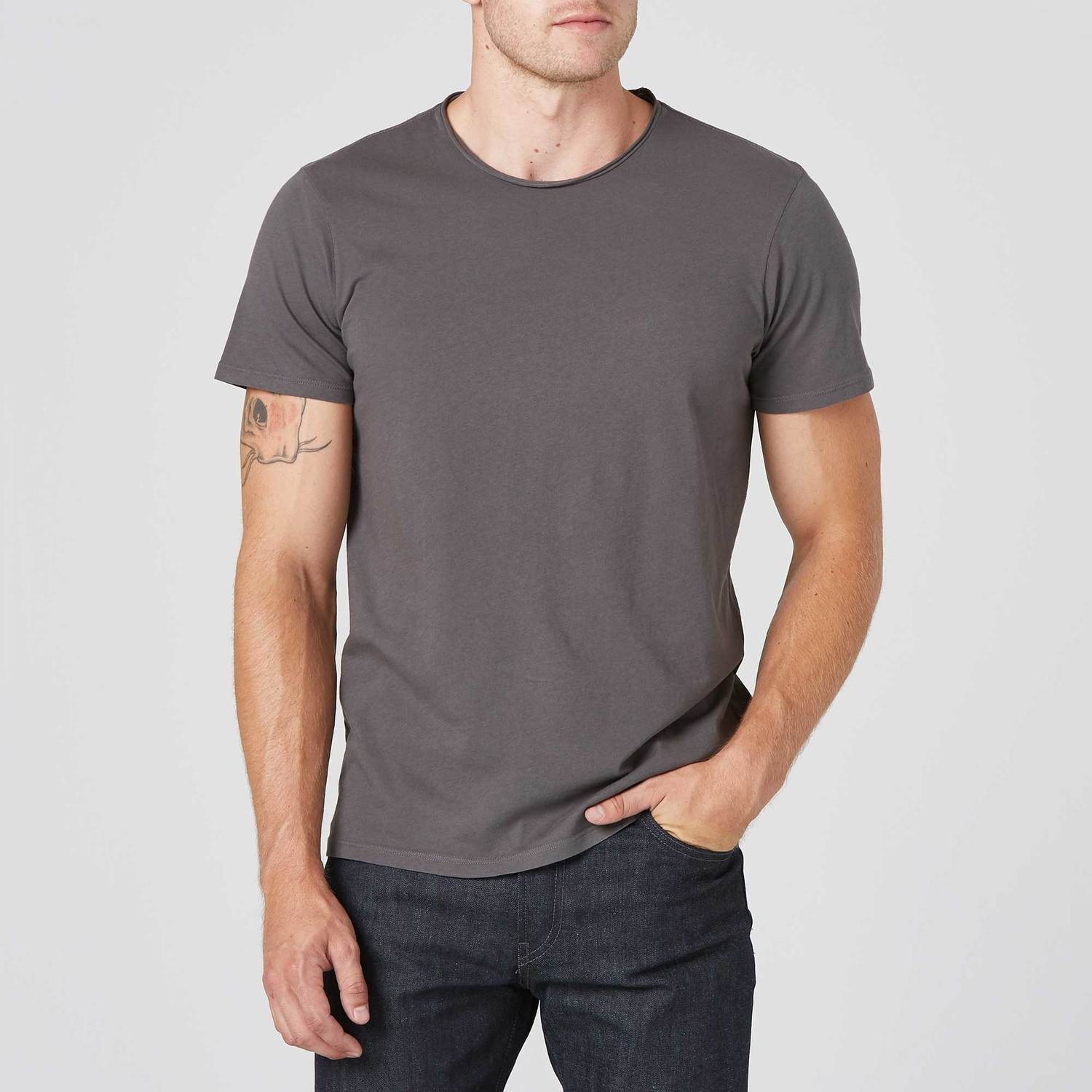 Modern Crew Neck Tee in Charcoal