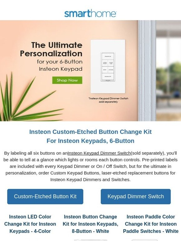 Smarthome, Inc : Personalized Insteon Keypads Can Be Yours