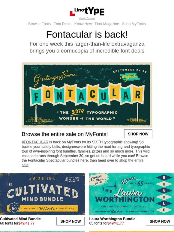 Linotype: Fontacular 2018: shop the biggest sale of the year