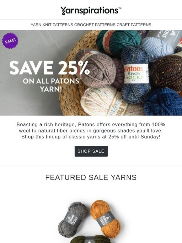 Yarnspirations: 2 great sales this week! Get 25% off Patons