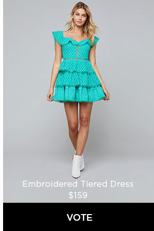 Embroidered Tiered Dress $159