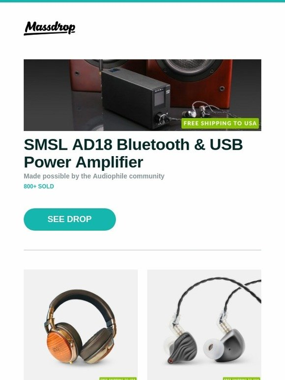 Massdrop: SMSL AD18 Bluetooth & USB Power Amplifier, ESS 252