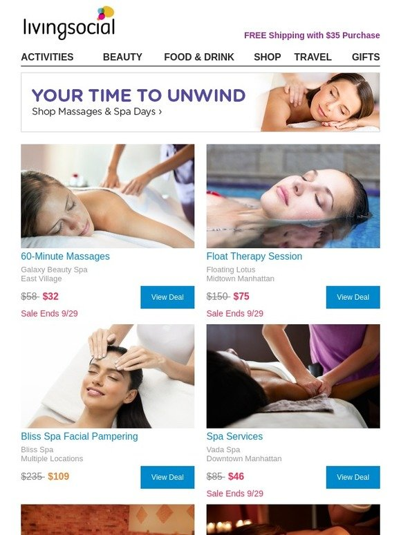 LivingSocial: 60-Minute Massages, Float Therapy Session and