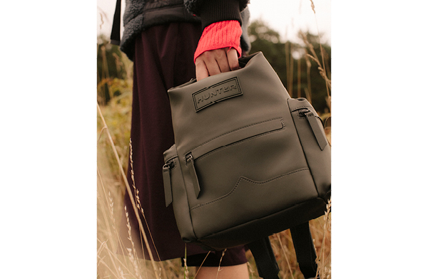 Shop Original Mini Top Clip Backpack - Rubberised Leather: Dark Olive Now
