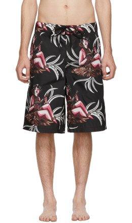 Prada - Black Hawaii Swim Shorts