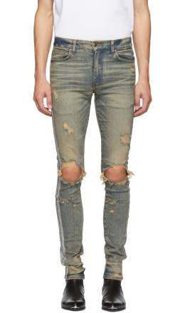 Amiri - Indigo Silver Glitter Jeans