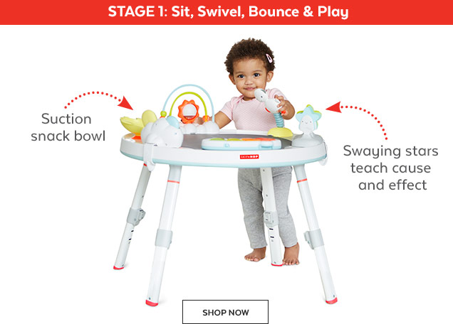 Stage 1: Sit, Swivel, Bounce & play | Suction snack bowl | Swaying stars teach cause and effect | Shop Now